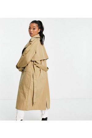ASOS Petite Women Trench Coats - ASOS DESIGN Petite collared luxe trench coat in stone