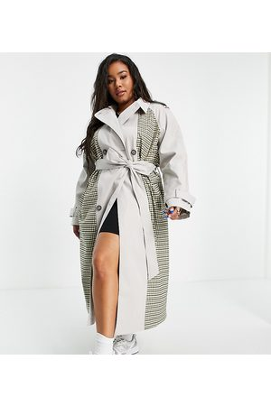 ASOS Curve Women Trench Coats - ASOS DESIGN Curve spliced check trench coat
