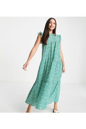 ASOS Tall Women Casual Dresses - ASOS DESIGN Tall sleeveless tiered midi dress with frills in green floral print-Multi