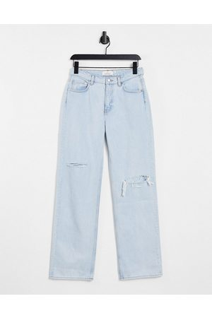 & Other Stories Precious organic cotton low rise relaxed fit ripped jeans in light