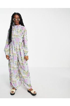 ASOS DESIGN Women Jumpsuits - Smock jumpsuit in bright summer floral print-Multi