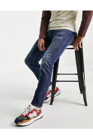 jack & jones Intelligence Tim super stretch straight leg jeans with abrasions