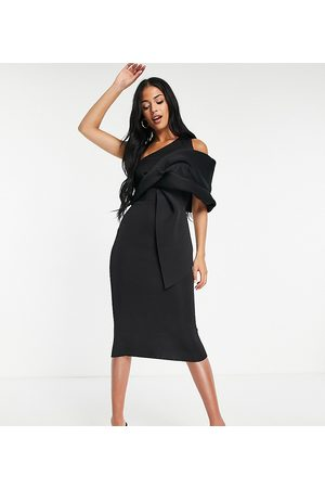 ASOS Tall Women Pencil Dresses - ASOS DESIGN Tall peekaboo shoulder tuck midi pencil dress in