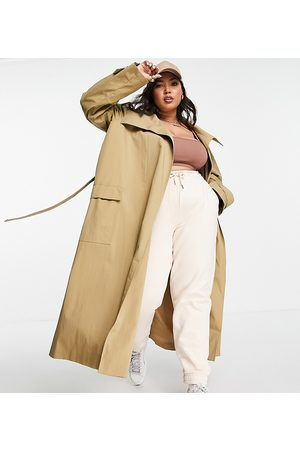 ASOS Curve Women Trench Coats - ASOS DESIGN Curve collared luxe trench coat in stone