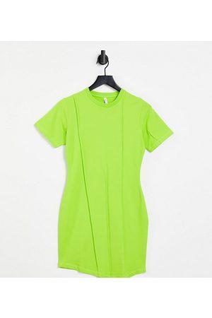 AsYou Seam detail asymmetric bodycon t-shirt dress in lime