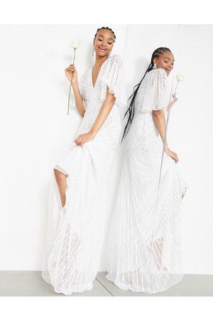 ASOS Emilia pearl embellished wedding dress with cutwork details