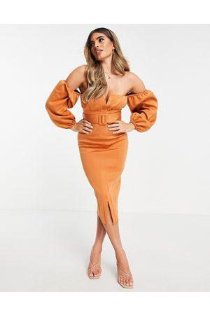 ASOS Women Pencil Dresses - Off shoulder ruched bust belted pencil midi dress in orange-Multi