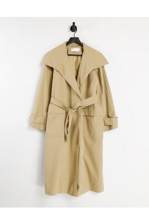 ASOS DESIGN Women Trench Coats - Collared luxe trench coat in stone