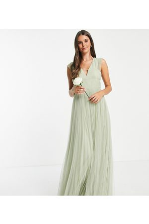 ASOS Tall ASOS DESIGN Tall tulle plunge maxi dress with shirred sleeves in sage