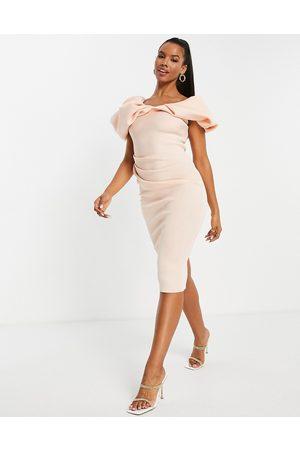 ASOS DESIGN Women Pencil Dresses - Bubble sleeve fallen shoulder pencil midi dress in pink-Neutral