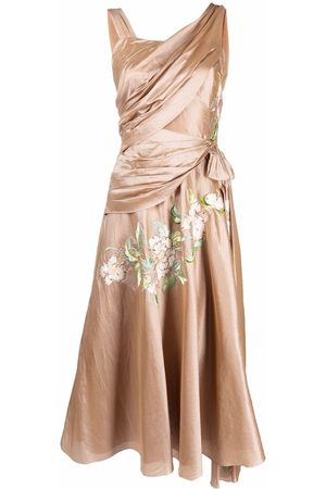 Dior 2006 pre-owned floral-embroidered draped dress