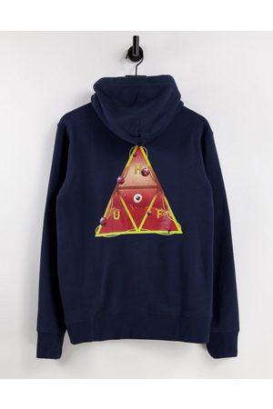 HUF Men Sweatshirts - Altered state back print hoodie in navy