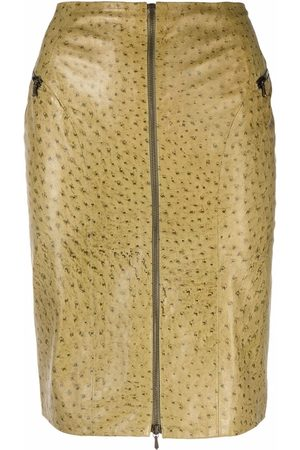 Dior 2000s pre-owned ostrich-effect leather skirt
