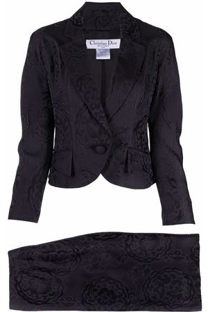 Dior 2009 pre-owned floral jacquard skirt suit