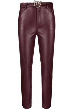 Pinko Women Leather Pants - Cropped faux-leather trousers