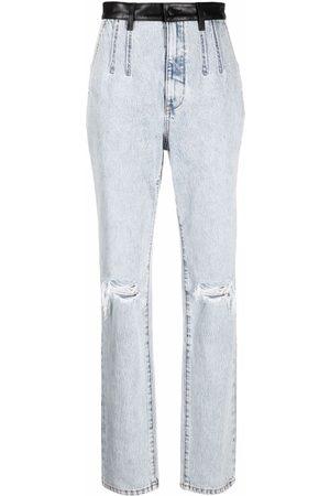 Alexander Wang Women Straight - Pebble bleach-wash high-waist jeans