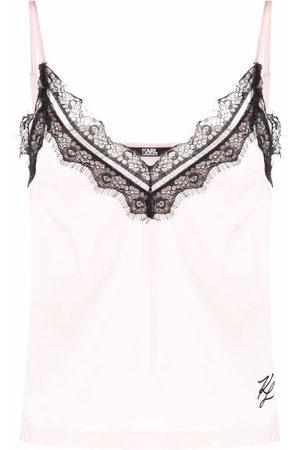 Karl Lagerfeld Women Camisoles - Lace-trim camisole