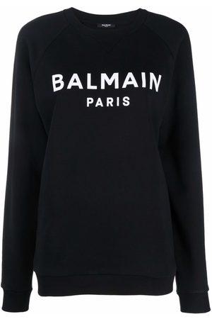 Balmain Women Sweatshirts - Flocked logo-print sweatshirt