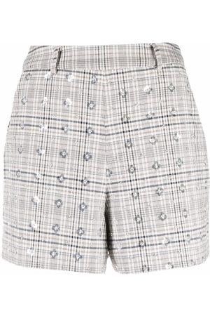 Self-Portrait Sequined plaid shorts