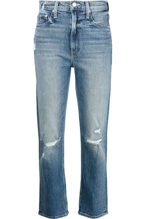 Mother Distressed high-rise cropped jeans