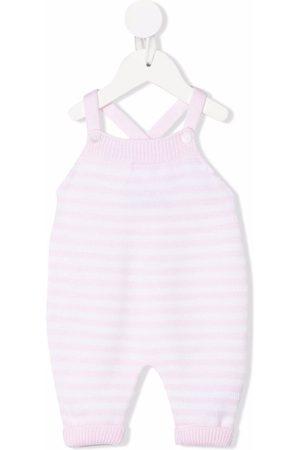 LITTLE BEAR Striped-knit cross-strap babygrow