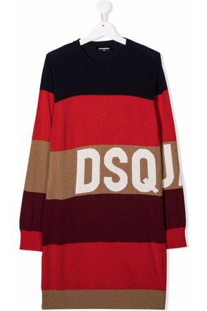 Dsquared2 Girls Knitted Dresses - TEEN stripe-print midi dress