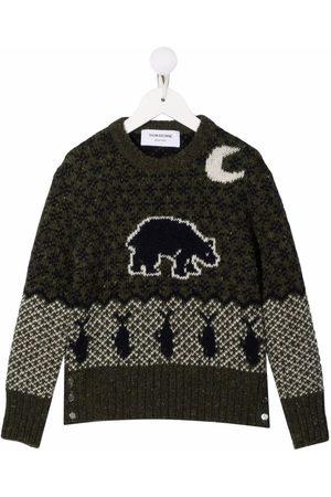 Thom Browne Boys Jumpers - Intarsia-knit Fair Isle jumper