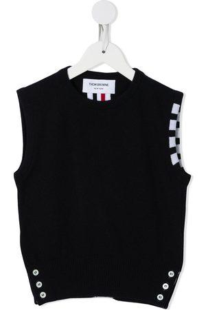 Thom Browne Sleeveless crew neck 4-Bar vest