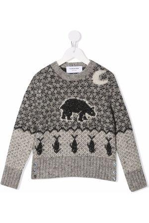 Thom Browne Kids Fair isle knit jumper