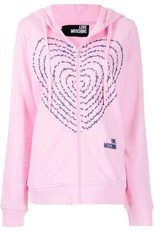 Love Moschino Heart print zipped hoodie