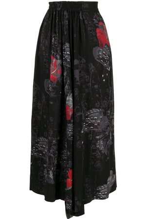 Y'S Graphic-print flared trousers