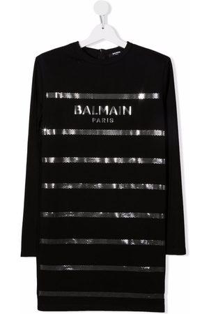 Balmain Kids TEEN logo-print cotton dress