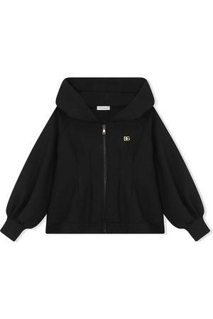 Dolce & Gabbana Girls Sweatshirts - Hooded zip-front sweatshirt