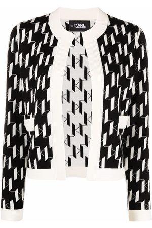 Karl Lagerfeld Monogram-print knitted cardigan