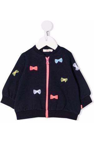 Billieblush Bow-detail knitted zip-up jumper