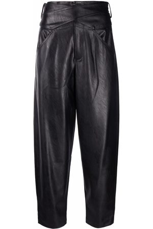 Pinko Faux-leather cropped straight-leg trousers