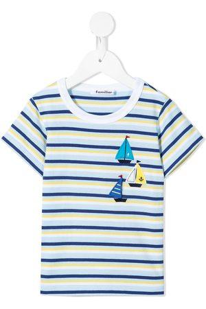Familiar Striped appliqué cotton T-shirt