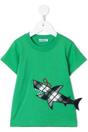 Familiar Shark appliqué cotton T-shirt
