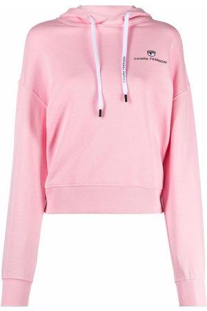 Chiara Ferragni Women Hoodies - Embroidered-logo drawstring hoodie