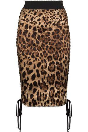 Dolce & Gabbana Women Pencil Skirts - DOLCE HW SIDE DRWSTRNG LEO PRNT PENCIL K