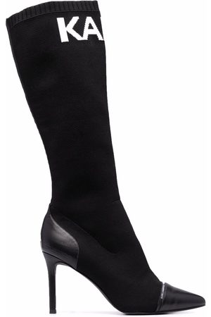 Karl Lagerfeld Women Knee High Boots - Intarsia-knit knee-high boots