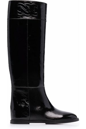 Casadei Women Knee High Boots - C-Chain knee-length leather boots