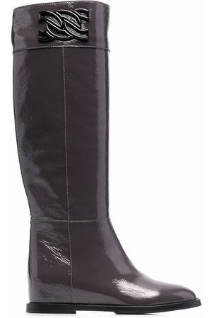 Casadei C-Chain knee-length leather boots