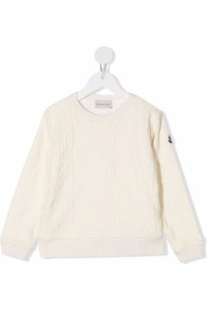 Moncler Boys Jumpers - Logo-patch cable knit jumper