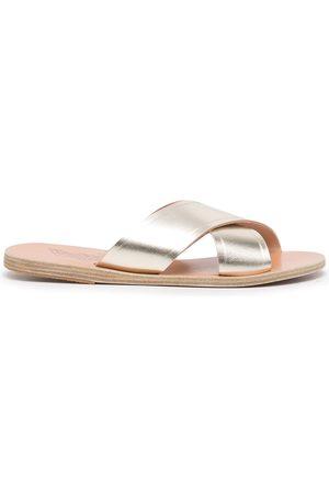Ancient Greek Sandals Women Sandals - Thais slip-on metallic sandals