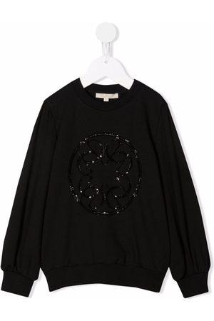 Elie saab Girls Sweatshirts - Beaded-logo crewneck sweatshirt