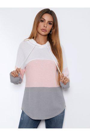 Yoins BASICS Color Block Hooded Design Knit Top