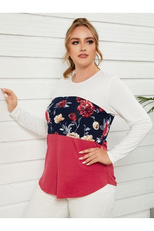 YOINS Plus Size Floral Print Patchwork Design Long Sleeves Tee