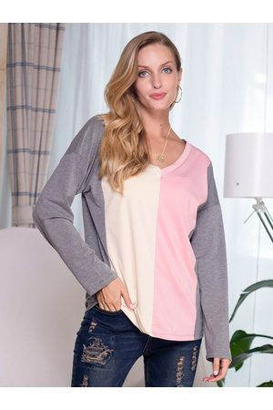 Yoins Casual Multicolor Patchwork V-neck Long Sleeves Tee