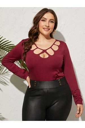 YOINS Women Long Sleeve - Plus Size Round Neck Cut Out Long Sleeves Tee